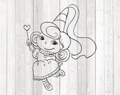 Fairy with magic wand and beautiful dress. Vector cutting file for Silhouette Cameo and Cricut; SVG, Studio3, PNG + EPS.