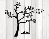 Tree swing with birds. Vector cutting file for Silhouette Cameo and Cricut; SVG, Studio3, PNG + EPS.