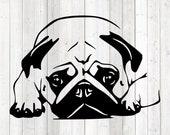 Pug, reclining dog. Vector cutting file for Silhouette Cameo and Cricut; SVG, Studio3, PNG + EPS.