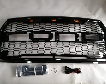 F150 Raptor Grille with Letters F&R Gloss Black Conversion w/Amber LED Fit for 2015-2017 F150
