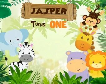 10x6.5ft Custom Safari Park Photo Background Kids 1st 2nd 3rd Birthday Party Baby Shower Decor Wallpaper Cartoon Zoo Forest Jungle Wild Animals Customizable Backdrop Photo Studio Props
