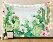 Topical Succulent Plants Green Cactus Tapestry Art Landscape Nature Wall Hanging for Bedroom Living Room Dorm Decor Watercolor tablecloths