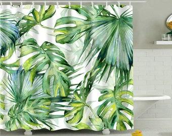 180x180cm Palm Leaf Print Shower Curtain Bathroom Fabric Hanging Sheer 71x71