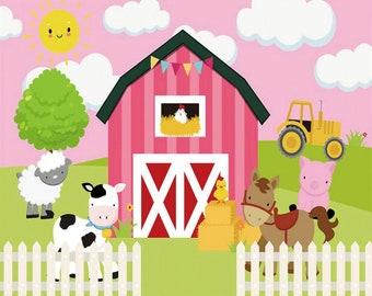 Digital Happy Birthday Farm Themed Background FARM Boy Birthday Backdrop Personalized Farm Birthday Banner Farm Birthday Party Decoration