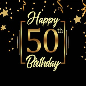 Black Photo Studio Booth Background VIP Happy 30th 50th 60th 70th Birthday Party Stars Banner Backdrops for Photography