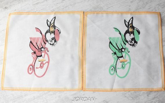 Drummer Teddy Bear Child handkerchief set of 3  unused vintage small hankies  Rocking Horse