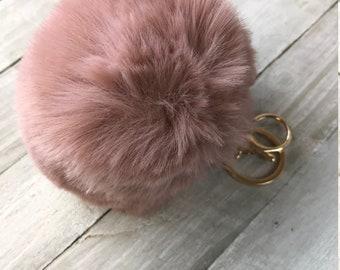 1PC Soft Fluffy Fur Ball Key Chain Pompom Handbag Car Key Ring Cute Accessories