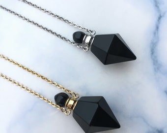 Natural obsidian point perfume bottles,Love tokens perfume bottle,Essential oils Necklace,Healing Meditation Energy points pendant necklace.