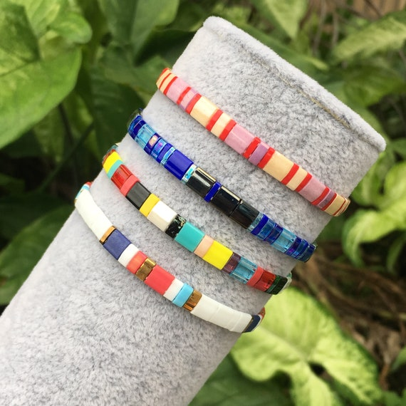 Beaded Miyuki Bracelet Tila Tile Bracelet Wrist Band Woven Bead Bracelet Miyuki Glass Bead Bracelet Handmade Miyuki Stacking Bracelet