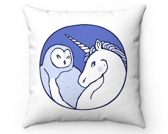 Unicorn and Owl Spun Polyester Square Pillow