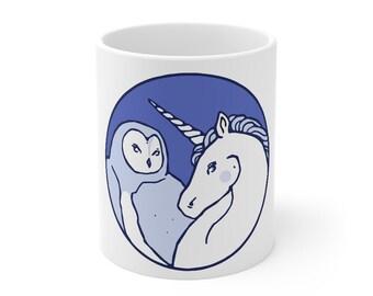 Unicorn and Owl White Mug 11 oz