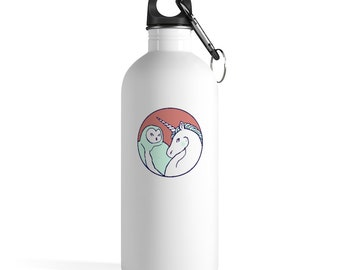 Unicorn and Owl Stainless Steel Water Bottle