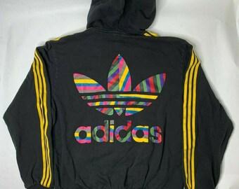 cbe6bdb6c vintage Adidas Mens L Multi Color Big Trefoil Logo 3 Stripe Full Zip Hoodie  Jacket