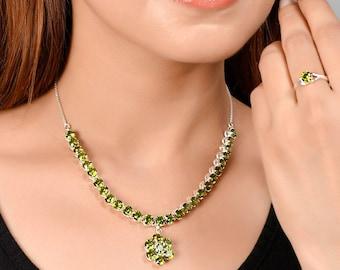 Swarovski Crystal Necklace Set | Simple Silver Necklace and Earring Set | Silver Necklace Set | 92.5 Silver Chain Necklace Set