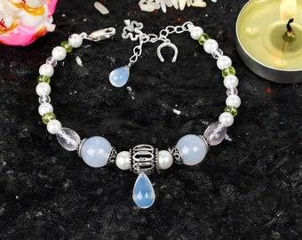 Handmade Pearl Bracelet | Chalcedony, Peridot, Rose Quartz Gemstone Bracelet | Silver Charm Bracelet | Pearl And Silver Bracelet