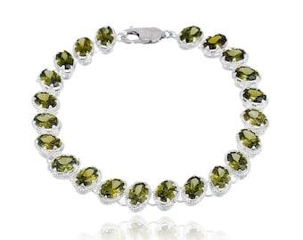 Beaded Rose Quartz Smoke Stone | Bracelet Women Bracelet | Sterling Silver Bracelet | Tennis Bracelet Swarovski