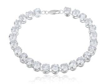 Silver Tennis Bracelet | Sterling Silver Bracelet | Silver Wedding Bracelet | Swarovski Crystal Bracelet for Women