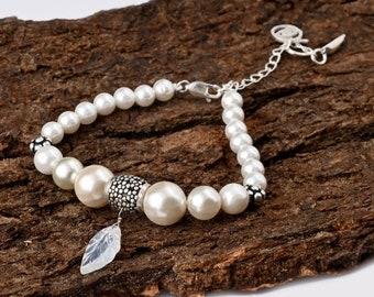 Pearl Bracelet for Mom | Pearl Bracelet Wedding | Silver Pearl Bracelet | Silver Charm Bracelet with Pink Pearl