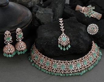 Bridal Necklace and Earring Set, Wedding Necklace and Earring Set, Necklace Set for Women, Bridal Choker Necklace Set, Bridal Necklace Set