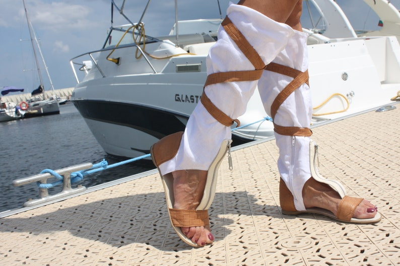 Summer shoes Summer peep toe open toe summer eco linen boots casual flat lace up over knee high boots greek roman gladiator sandals