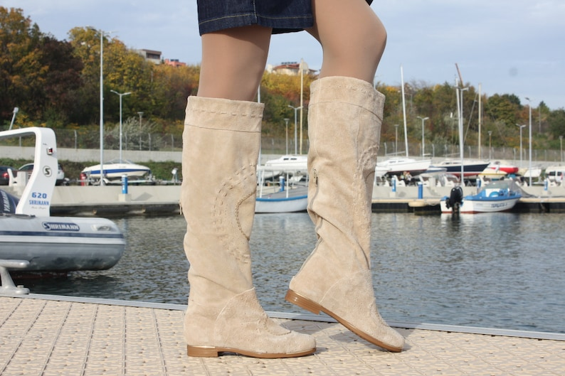 Winter fall autumn lace up knee high military boots low platform insoles genuine leather western boots knee high cowboy slouch boots