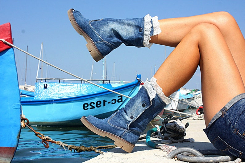 Ladies blue denim peep toe lace up knee high summer boots vegan shoes jeans boots  open toe lace up vegan cotton shoes jeans summer boots