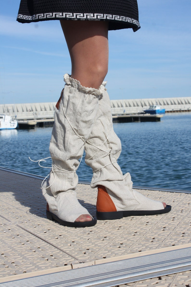 Summer shoes Summer peep toe open toe summer eco linen boots casual flat lace up knee high boots greek roman gladiator sandals