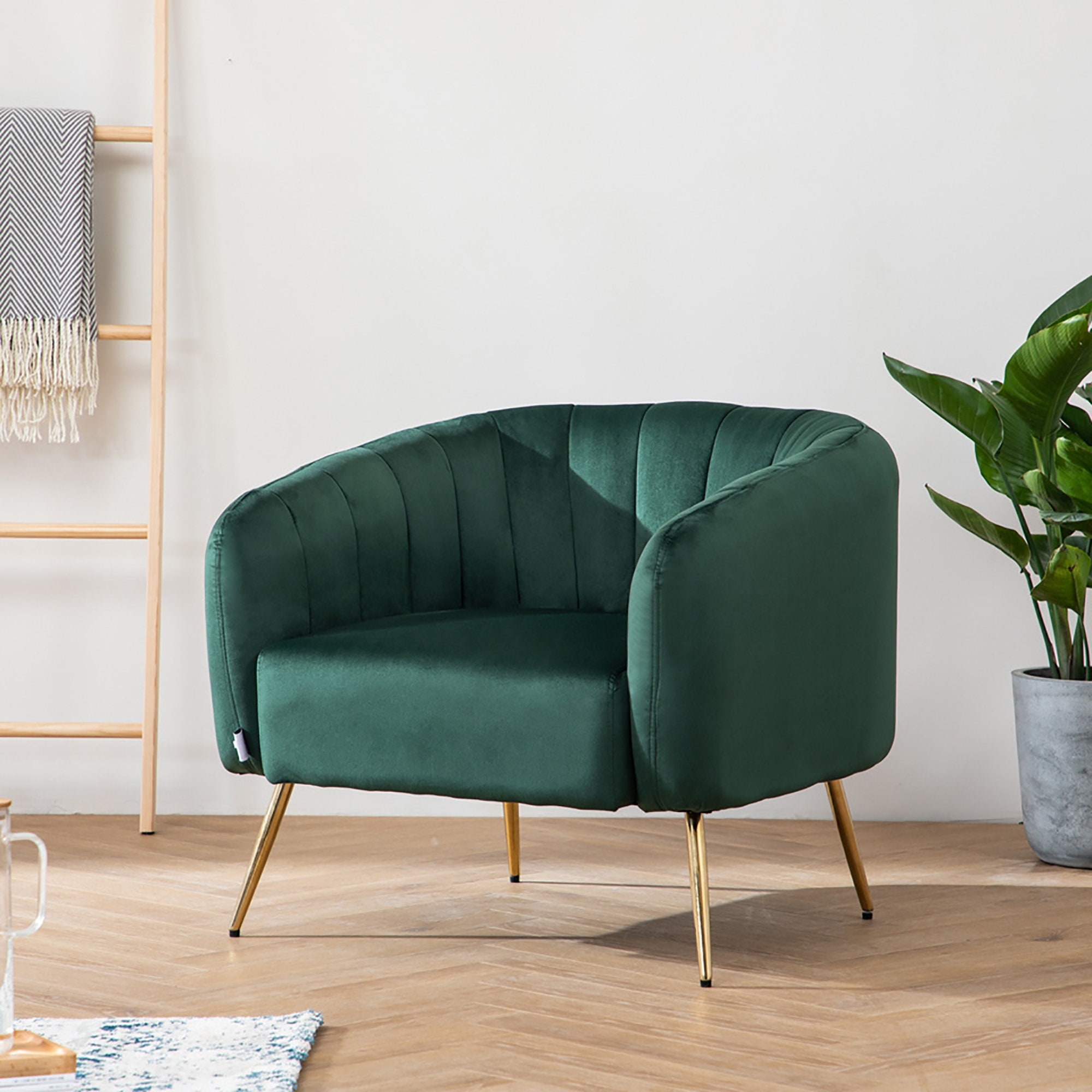 Blue Velvet Linen Living Room Occasional Accent Armchair With Scatter Cusion