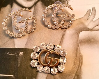 4d8e88ff4 Designer Inspired Crystal Stud Earrings and Brooch