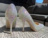 BN Bridal Jimmy Choo Strass Crystal Rainbow AB Heeled Shoes UK 6