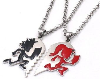 Hatchetman Twiztid black Juggalo red Juggalette Heart lover stainless steel pendant necklace rolo chain 18inch--40inch
