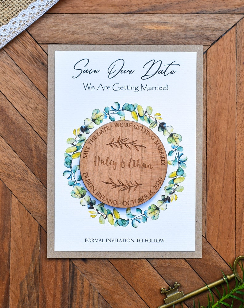Wedding Announcement Magnet DHL Express Free Save The Date Wooden Magnets and Card Eucalyptus Greenery Mountain Wedding Invitation