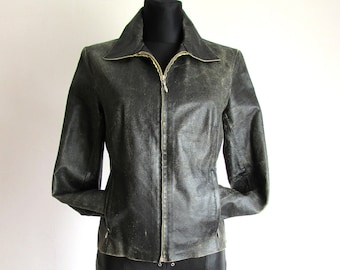 77bcfbac0a72 Vintage Dark Brown 90's Leather Cropped Bomber Zipper Jacket Size M