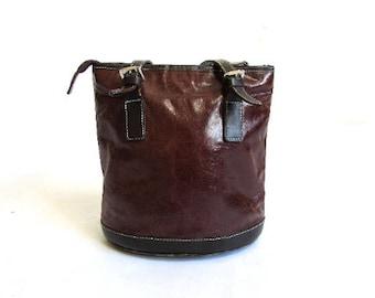 5347f97c73 Vintage vera pelle marrone borsa a tracolla borsa