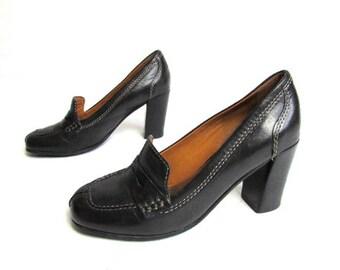 b38ddda8270e9 Vintage 1990's Geox Black leather Shoes Pumps High Heels Loafers Shoes Size  EUR 38 US 7.5 UK 5