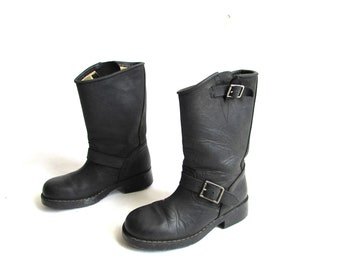 4ad5190c0765c Vintage Black Thick Real Leather Biker Motorcycle Boots with Side Buckles  Motorcycle Boots Black Leather Boots Size 36 US 6 UK 3.5