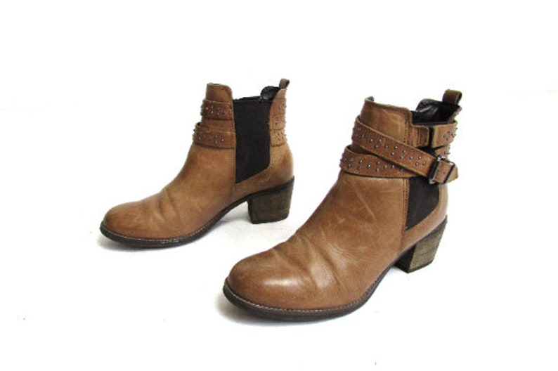 Vintage 90/'s Cowboy Brown  Camel Leather Boots Ankle Boots Short Boots Motorcycle Boots EUR 39 UK 6 US 8.5