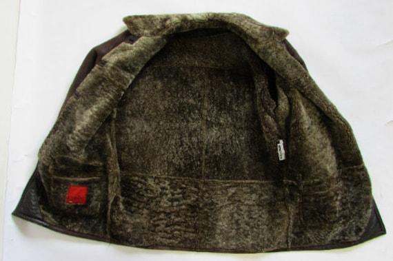 Vintage Sheepskin Brown Coat, Shearling Brown Coa… - image 5