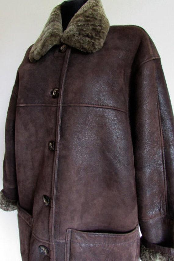 Vintage Sheepskin Brown Coat, Shearling Brown Coa… - image 2