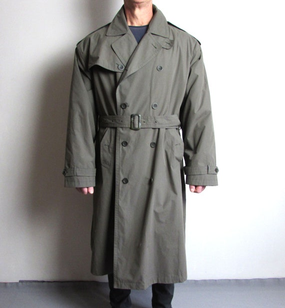 Vintage Trench Coat, Olive Green Coat, Double Brea
