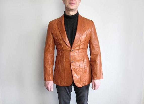 Vintage Men Orange Leather Jacket, 70's 80's Leath