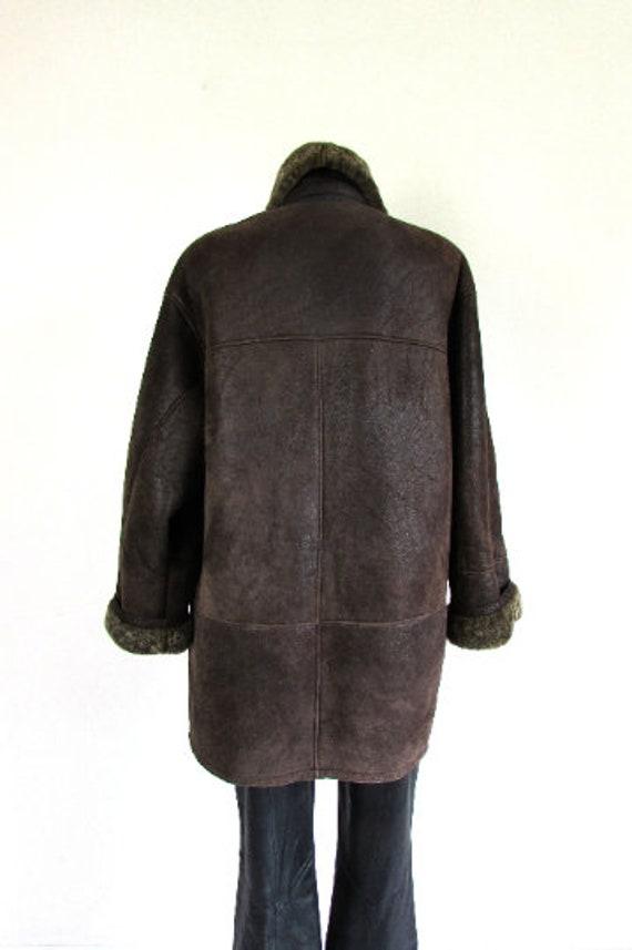 Vintage Sheepskin Brown Coat, Shearling Brown Coa… - image 4