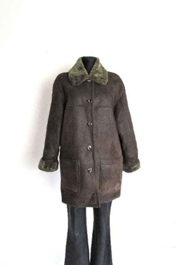 Vintage Sheepskin Brown Coat, Shearling Brown Coa… - image 1