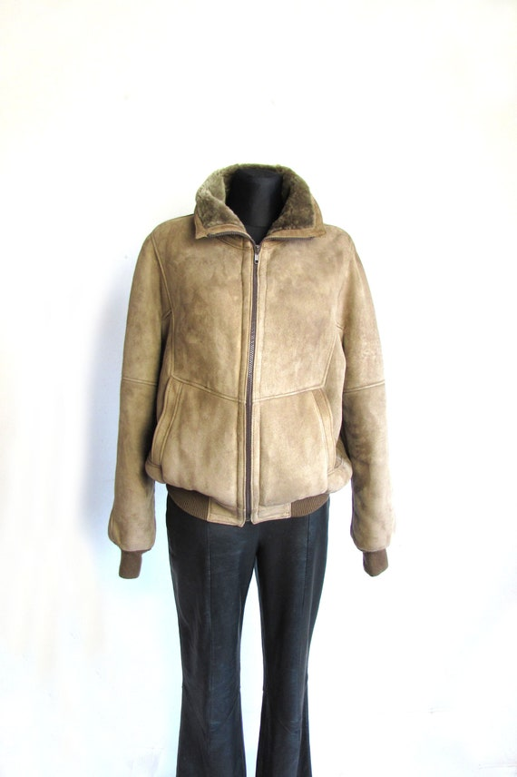 Vintage Shearling Jacket, Brown Shearling Jacket,