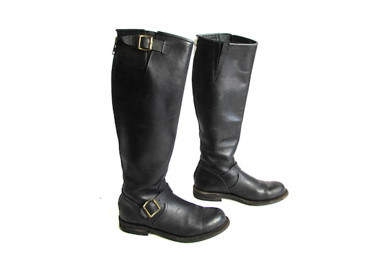 Vintage Black Leather  Boots, Riding Boots, Roper