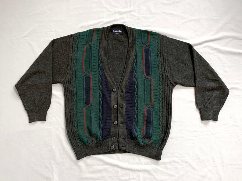 Button Down Green Grey Sweater size Large Vintage Wool Grandpa Cardigan Knit Pullover