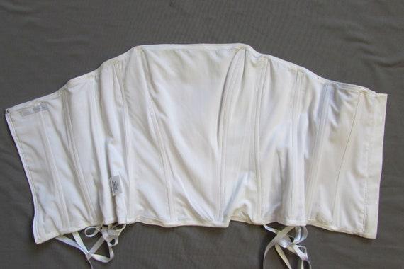 Vintage 90's White Corset, Lace Trim, Wedding Cor… - image 9