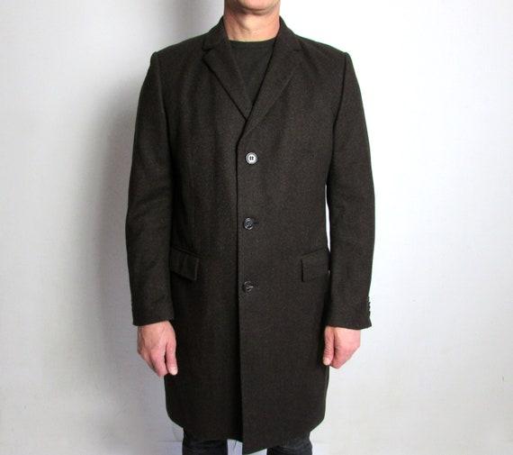 Men Vintage JOOP Coat, Virgin Wool Coat, Brown Coa