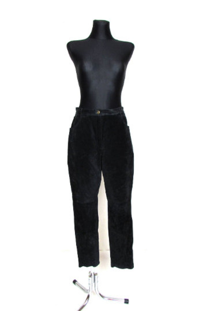 Vintage 80/'s 90/'s Black Real Suede High Waisted Tapered Pantsl Pants Size  XL