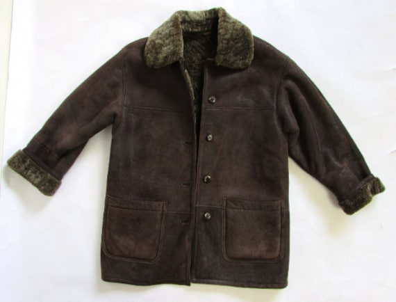 Vintage Sheepskin Brown Coat, Shearling Brown Coa… - image 6